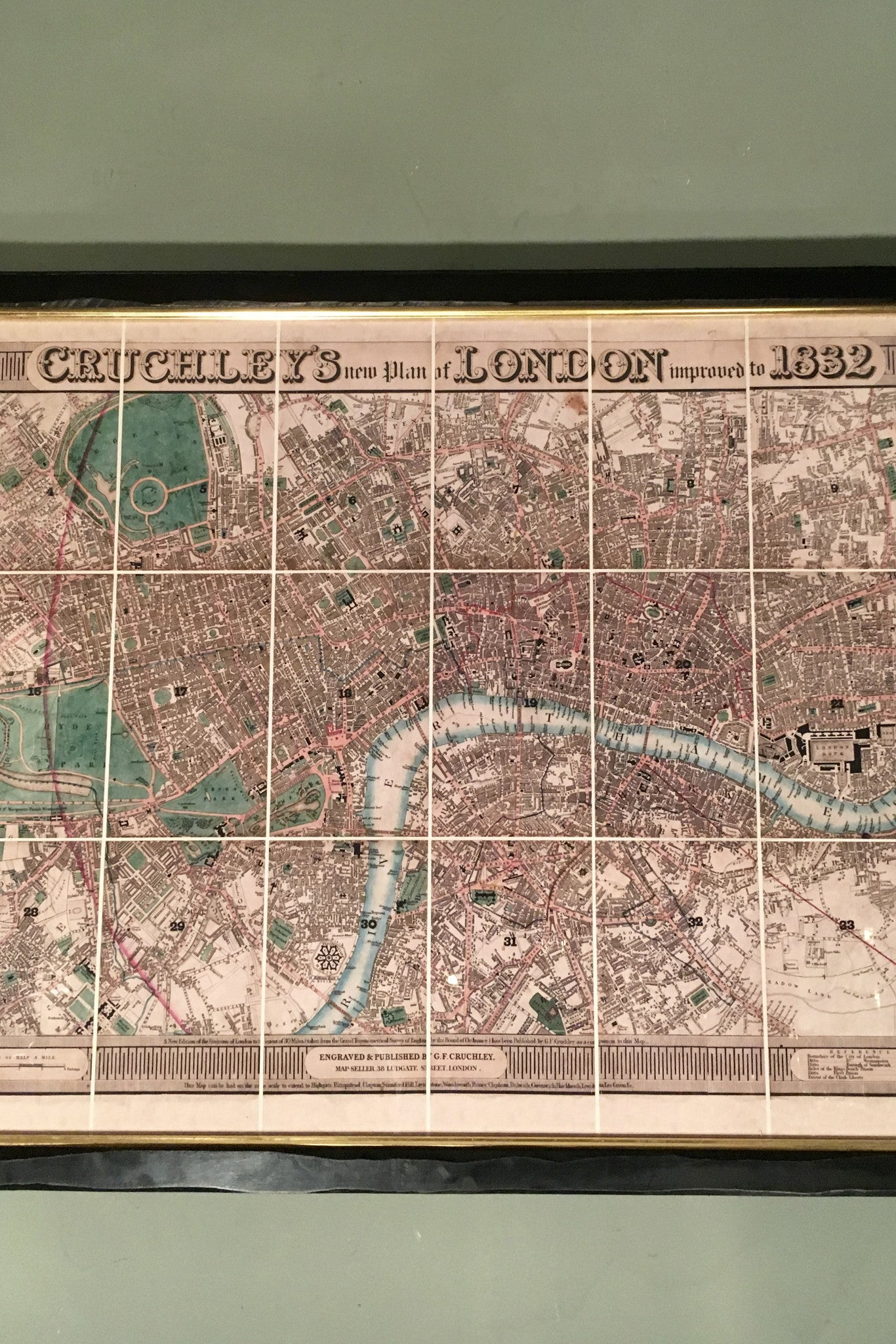 X Framed Linen backed , hand made  replica of Cruchleys  map of London 1832 .