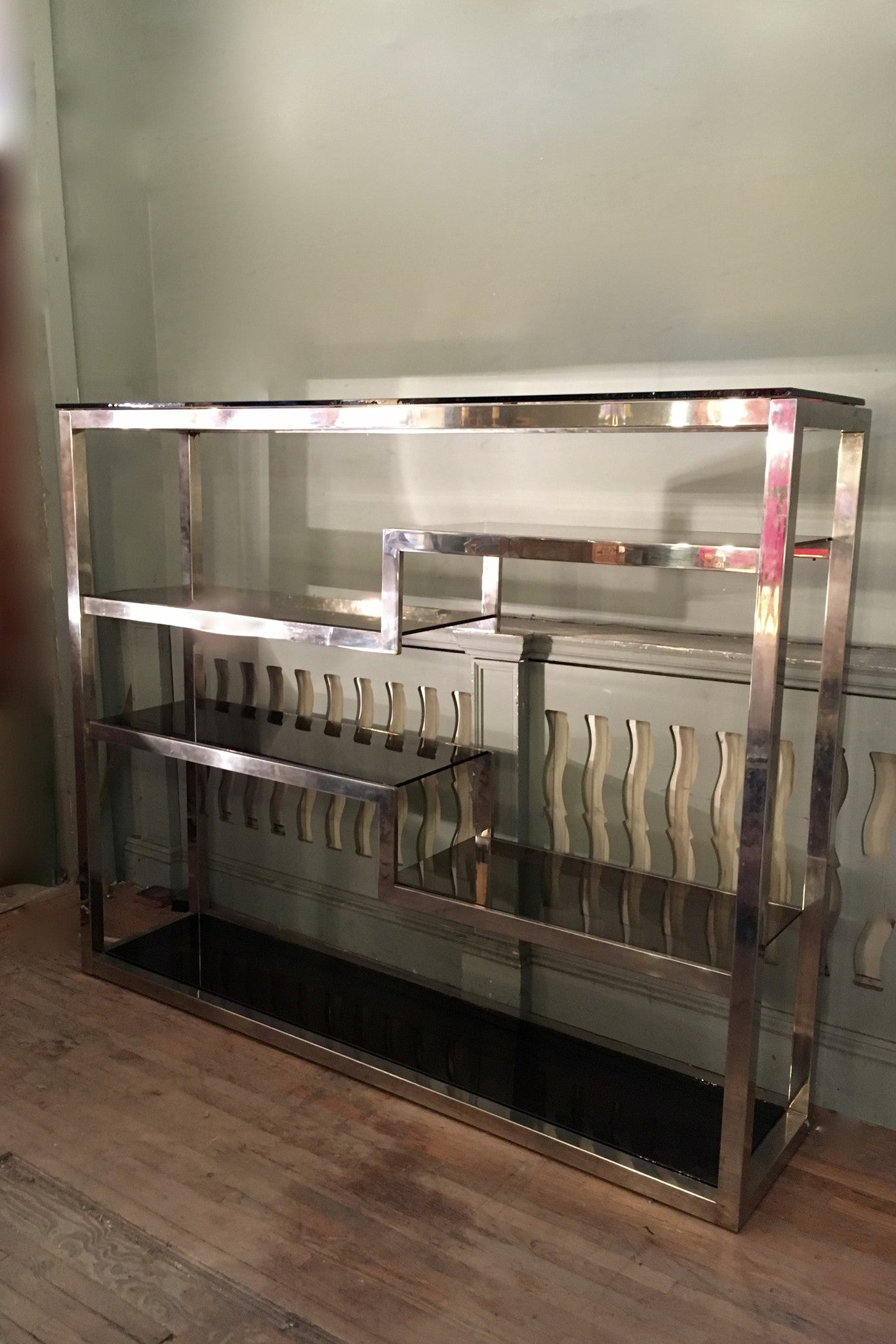X 1970s Chrome Shelving unit with smoked glass shelves | Les ...