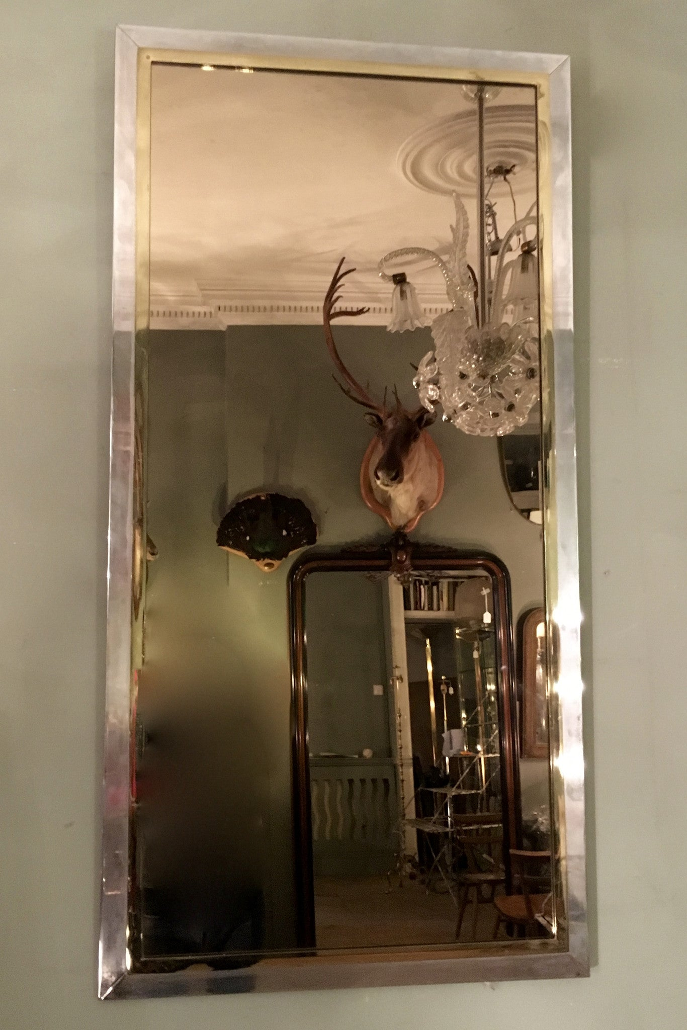 Large 1970s italian Steel and Brass wall Mirror