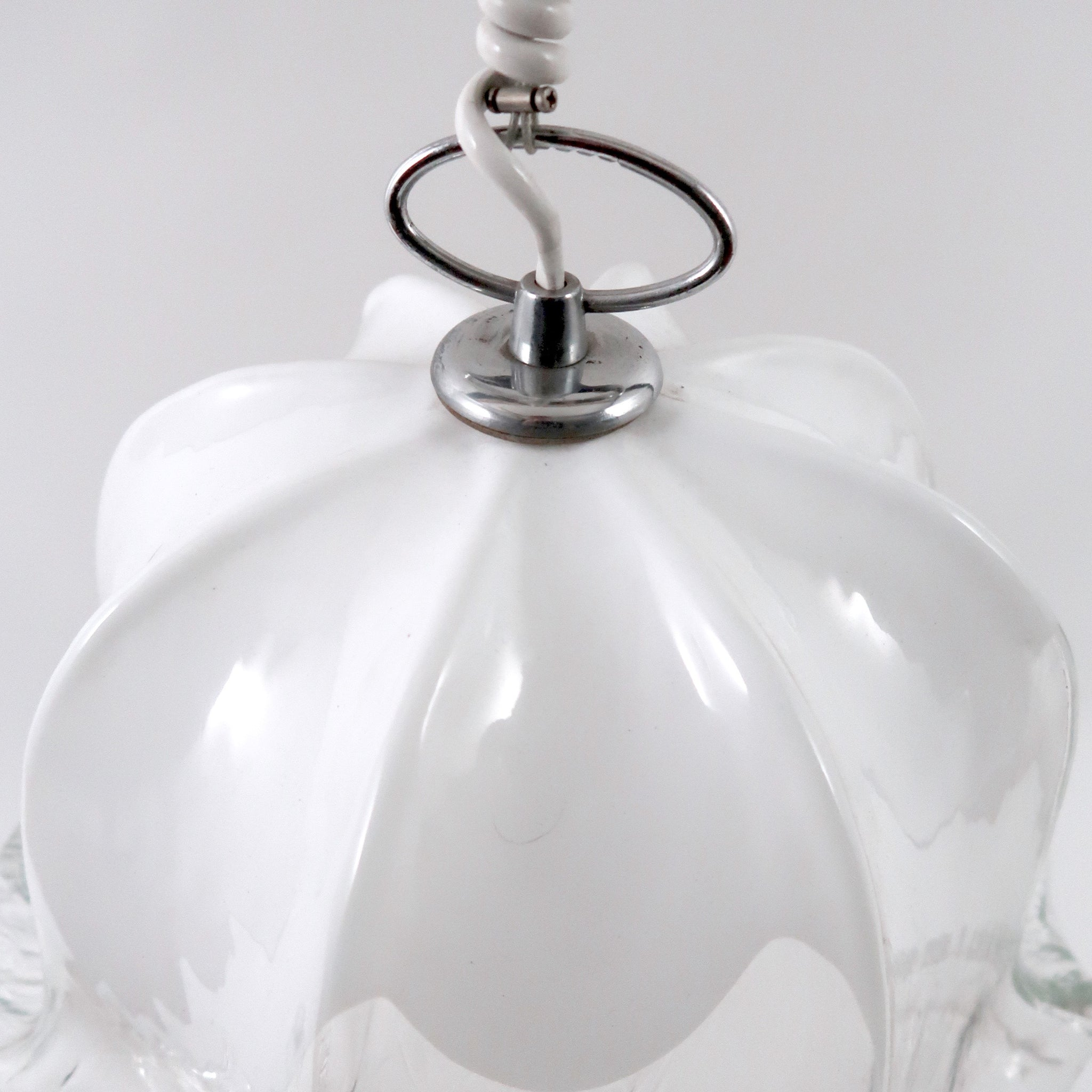 1970's Murano white and opaque glass hanging shade .