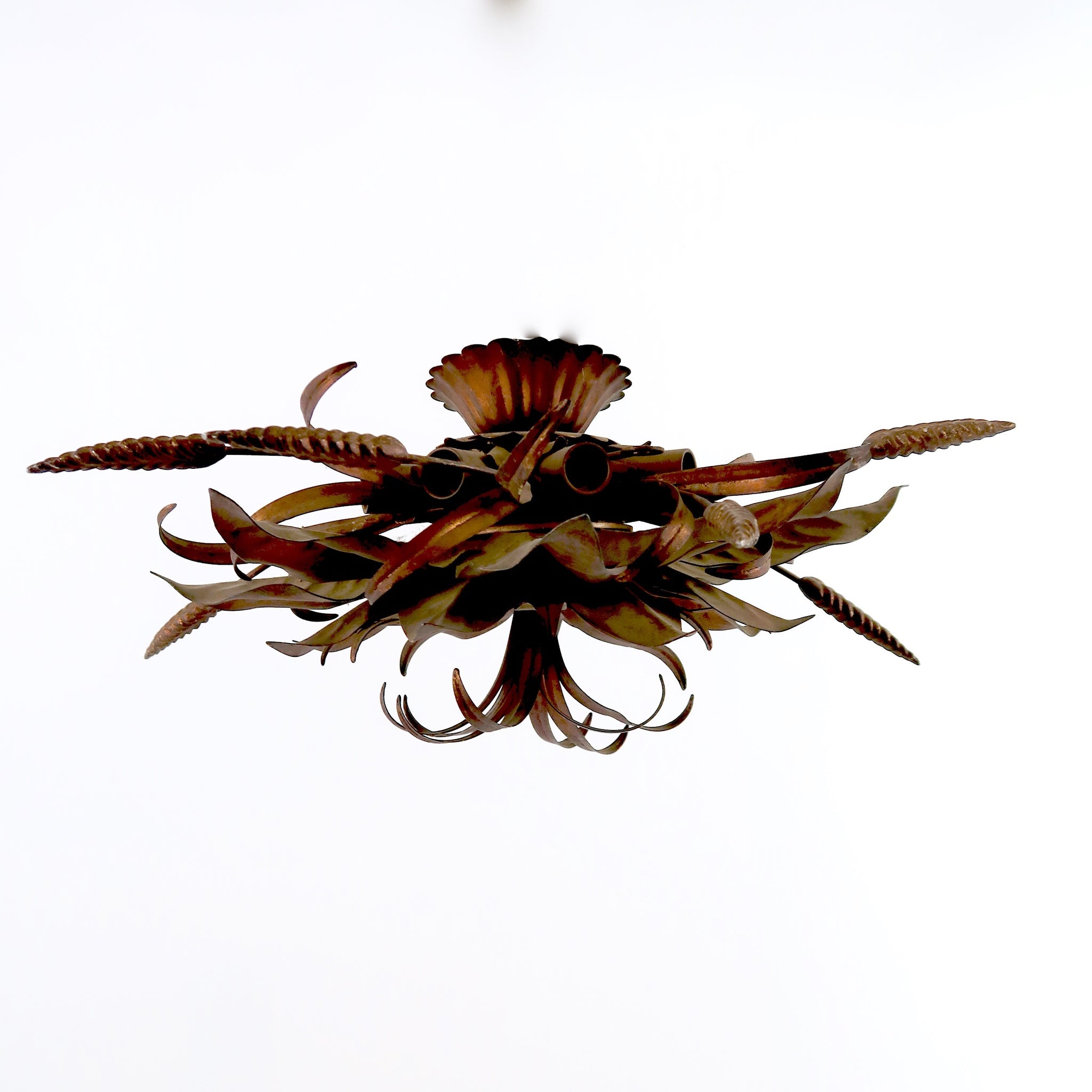 Italian gilt metal ceiling light with decorative leaves and wheatsheafs.