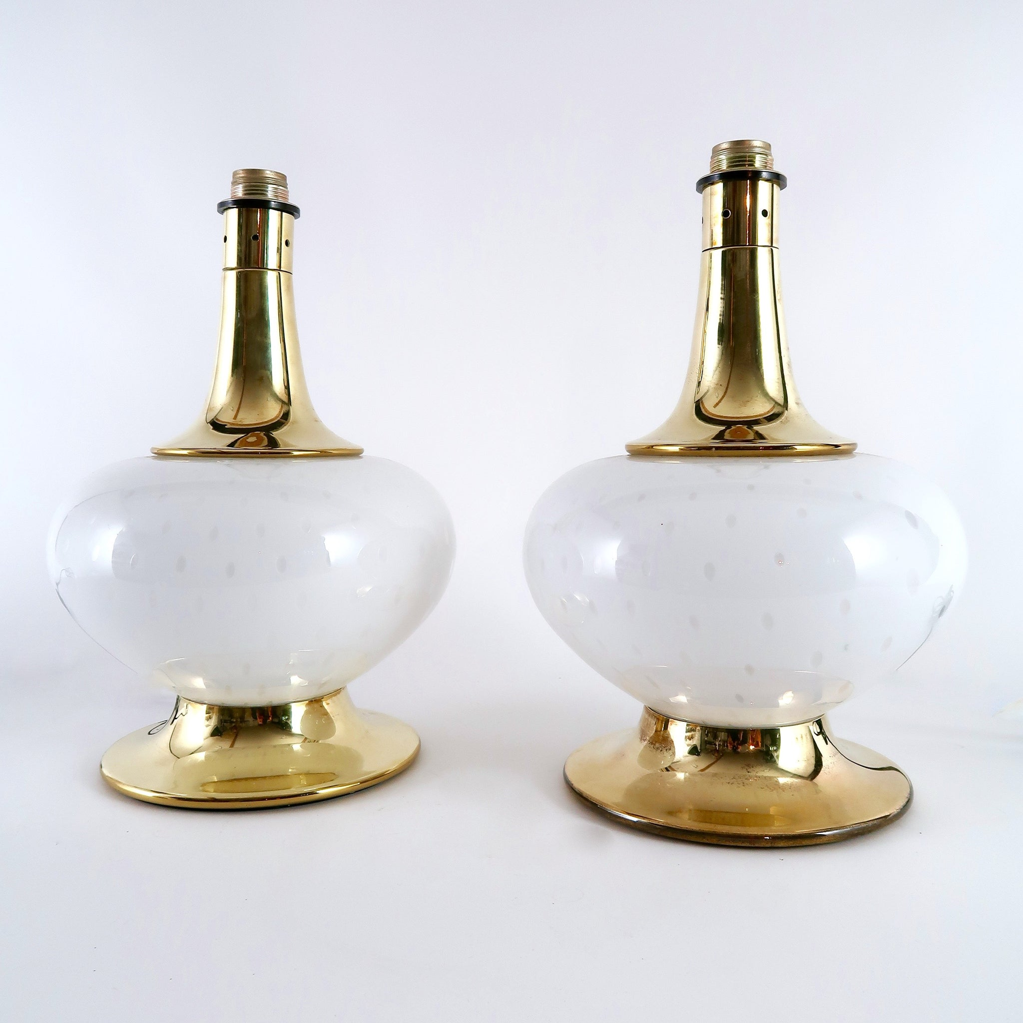 Decorative pair of 1960's  brass and Murano glass  lamps .