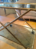 1970's faux Bamboo french bar trolley with  Cristofel label.