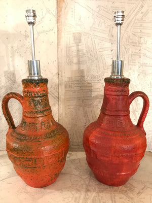 Impressive pair of German ceramic lamps circa 1960.