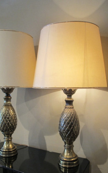 Large Pair of 1970s Pineapple Lamps.