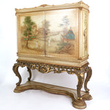 Fabulous Italian 1920's chinoiserie bar cabinet on stand.