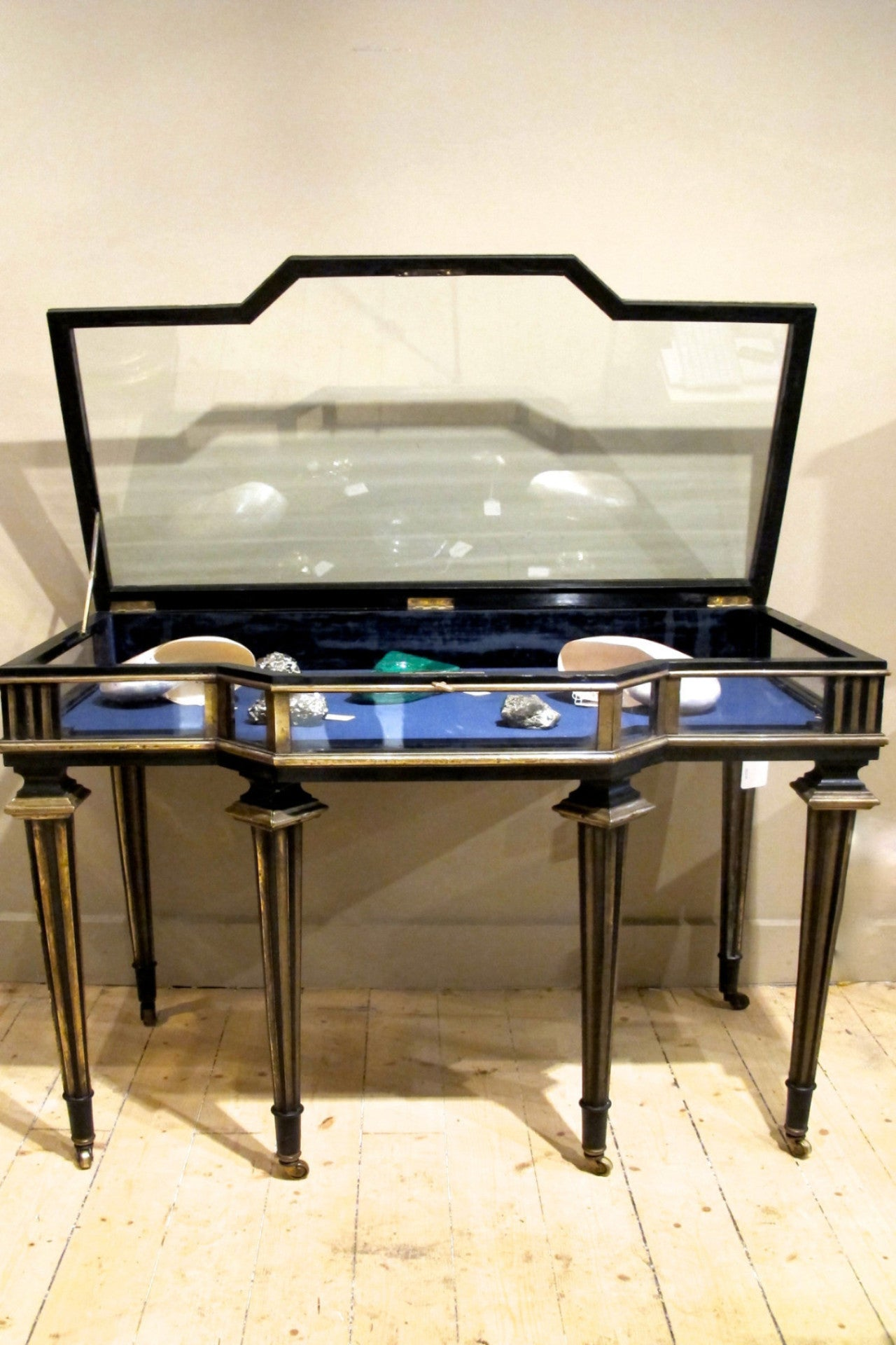 Stunning french 19th century  ebonised brass bound jewelry display vitrine.