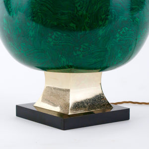 Stylish Faux malachite table lamp by Anthony Redmile.