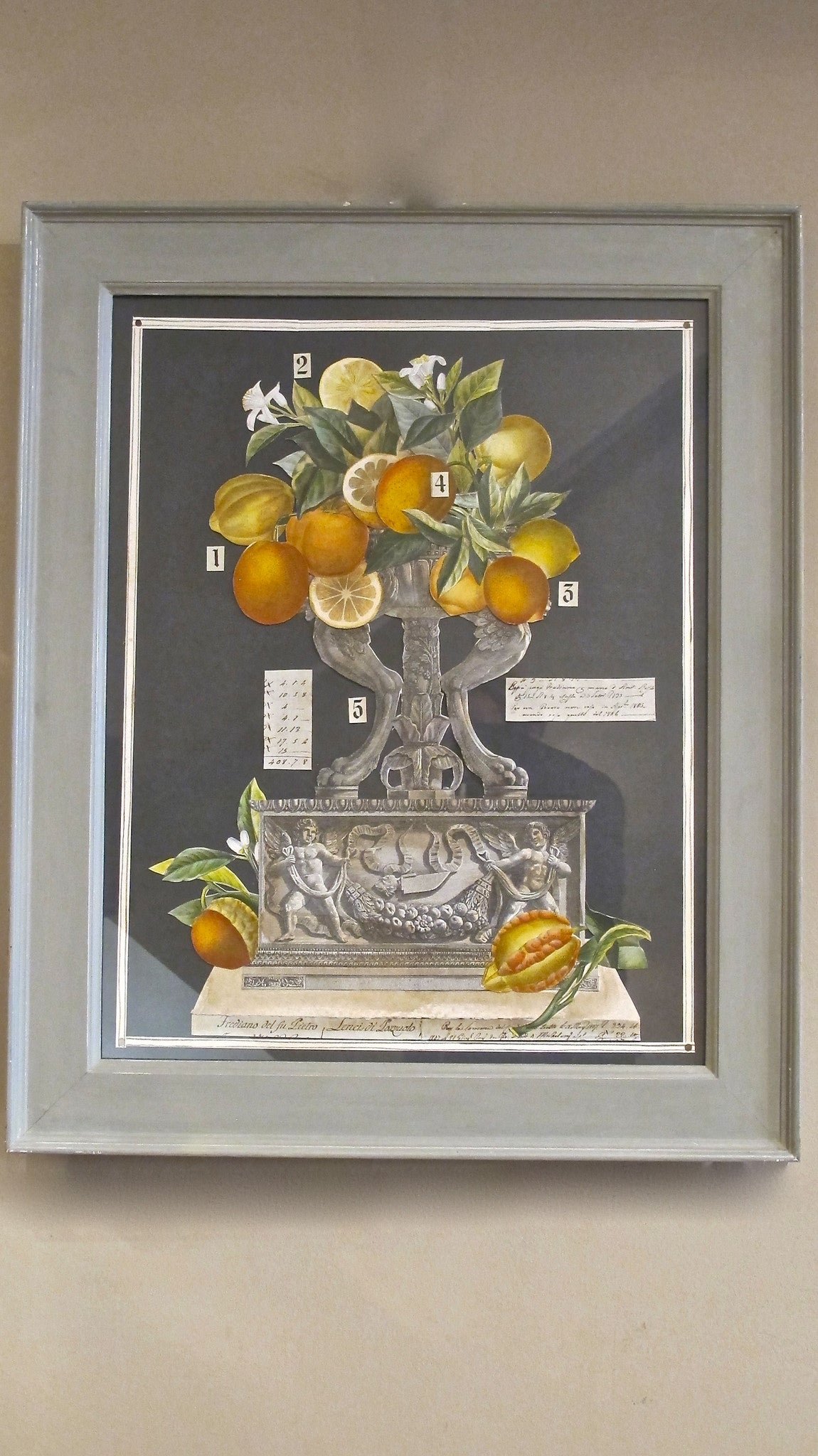X Pair of classical Italian Collage`s  in original hand finished grey frames.