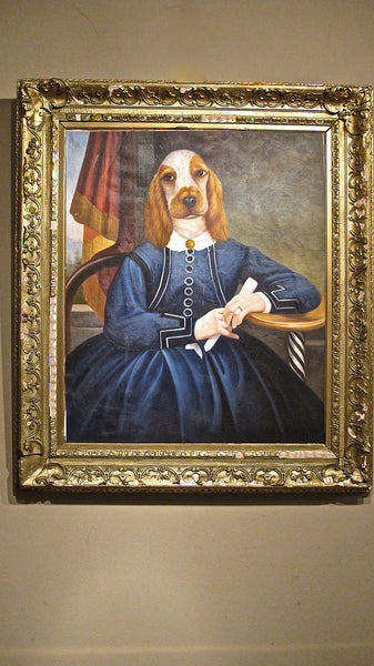 X Unusual portrait of a seated lady with canine features.