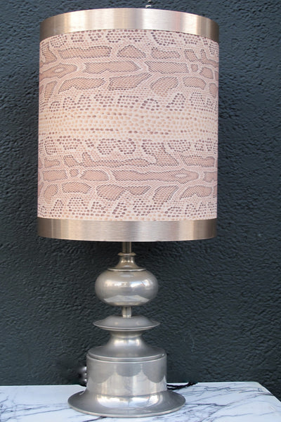 Fabulous 1970s Italian pewter table lamp with original faux snakeskin shade.