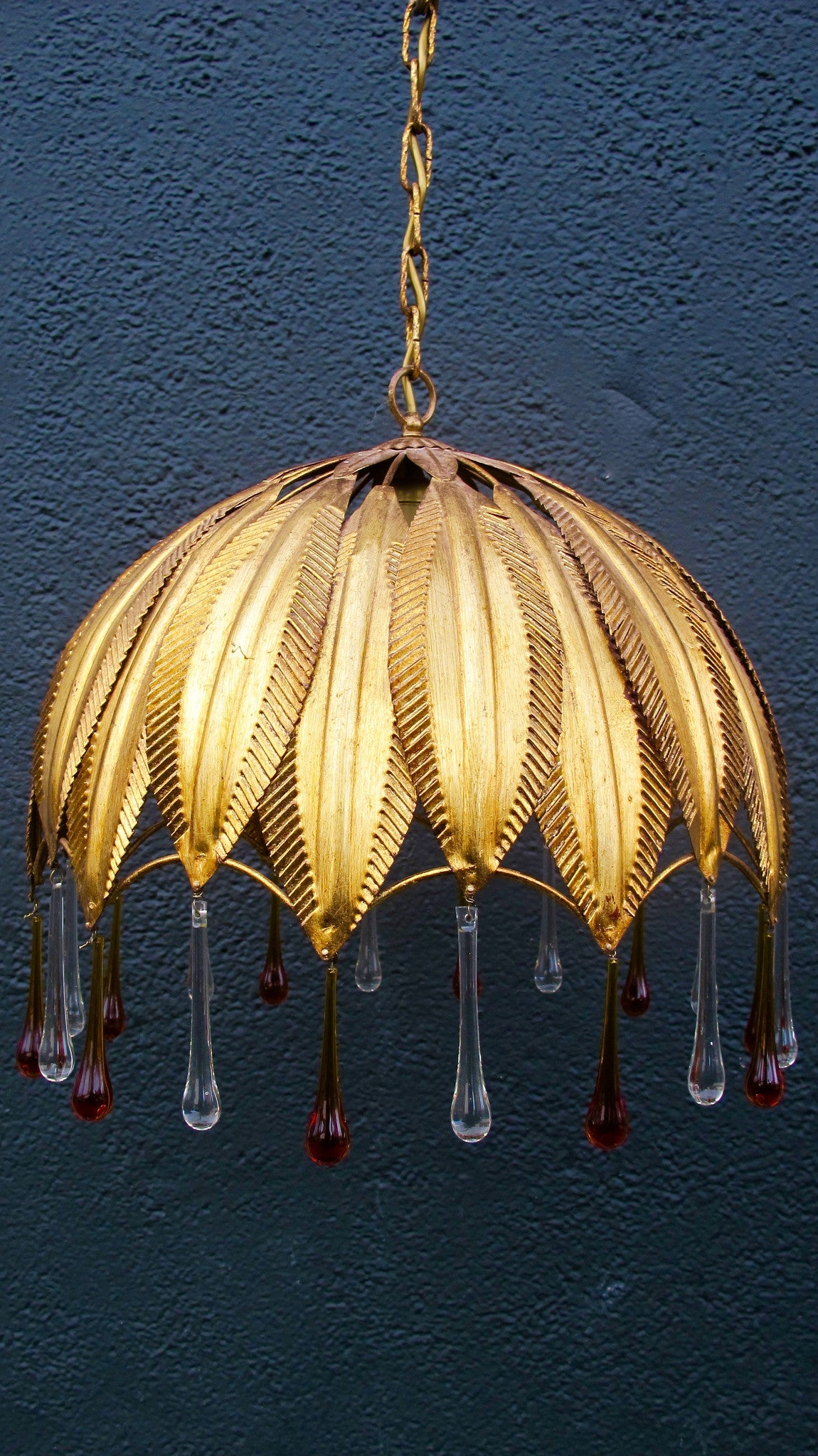 X Gilt metal chandelier modelled as a leaves.