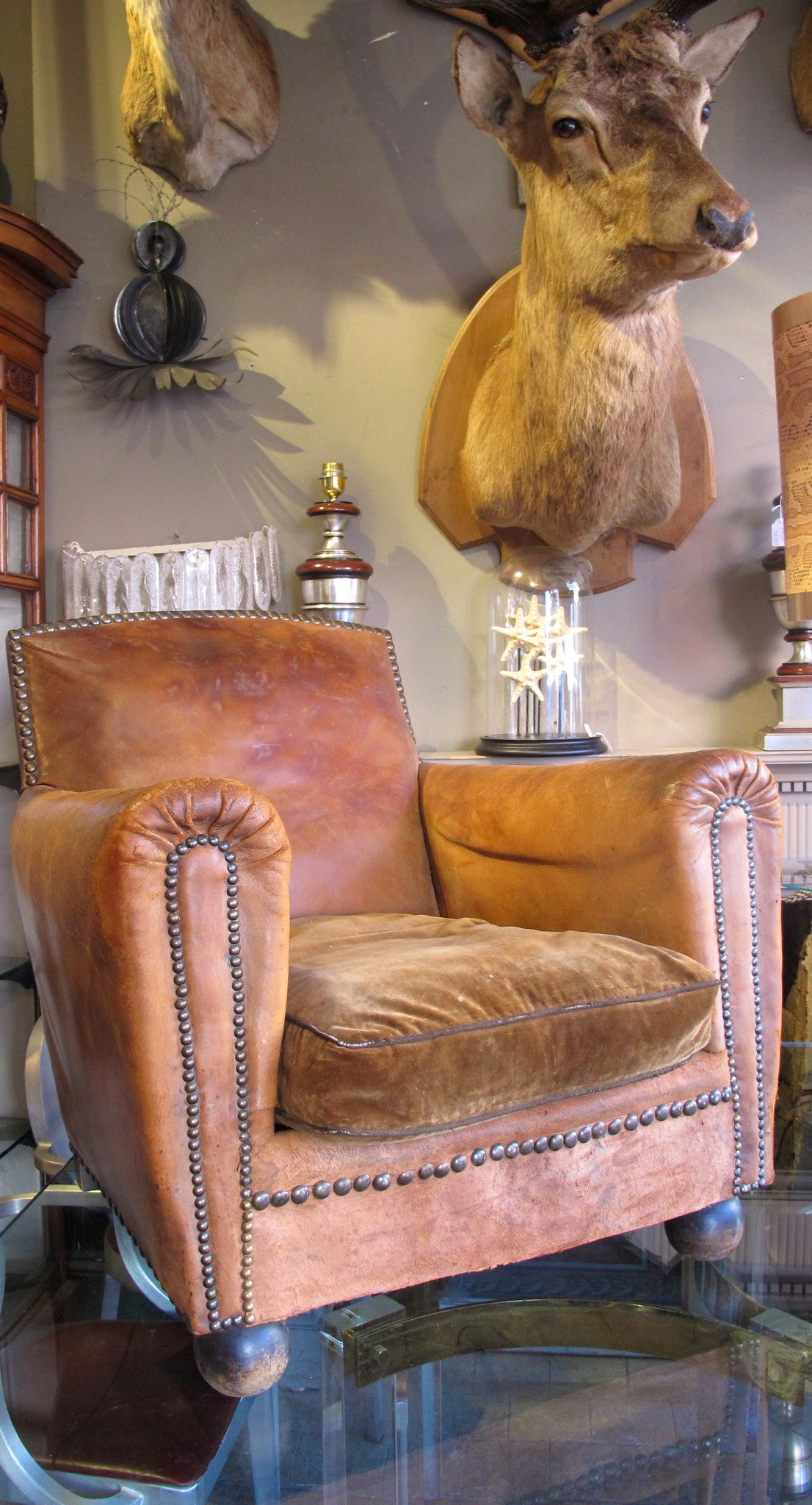 French leather club chair circa 1920