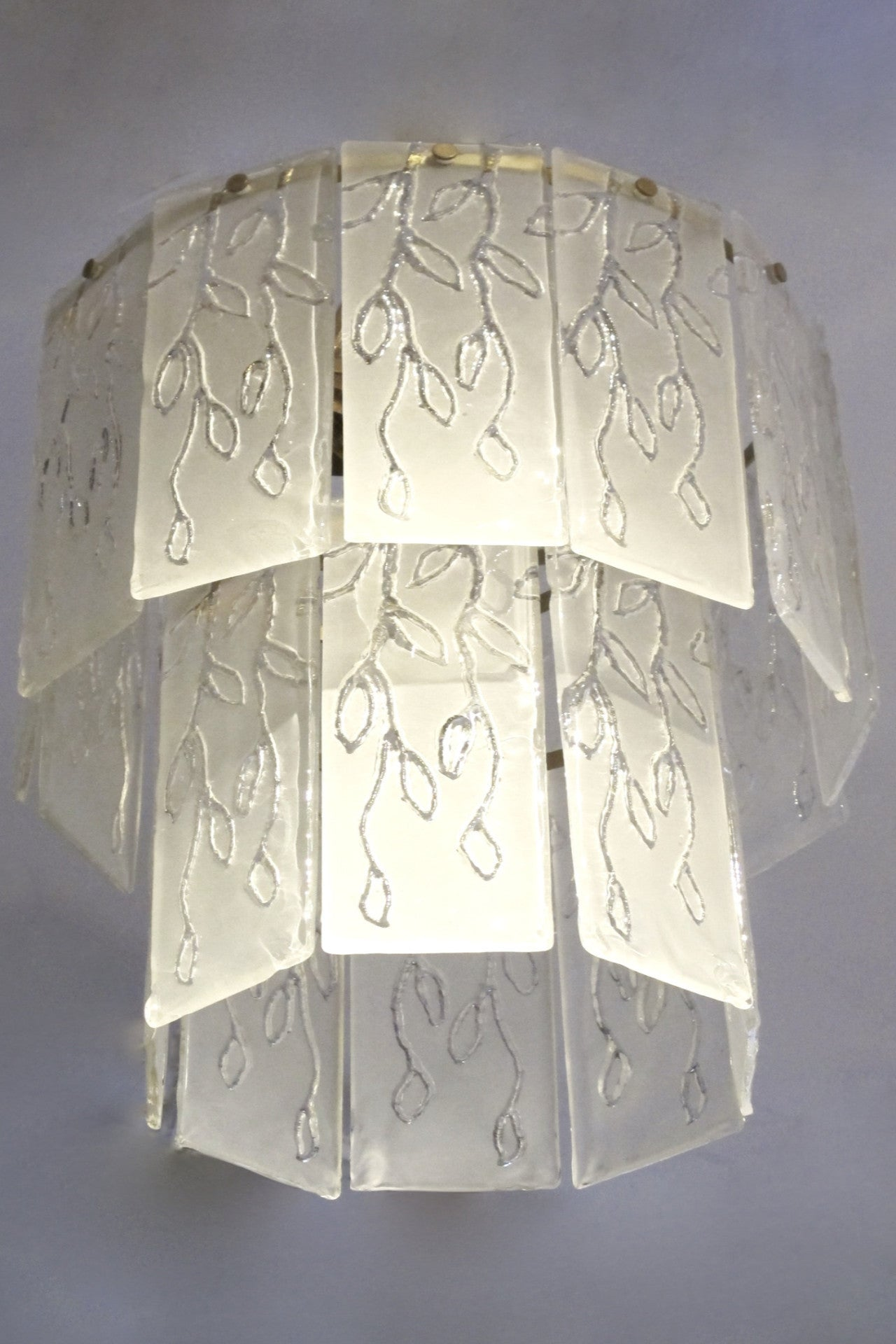 X Large Unusual italian 70s chandelier with a leaf motif.