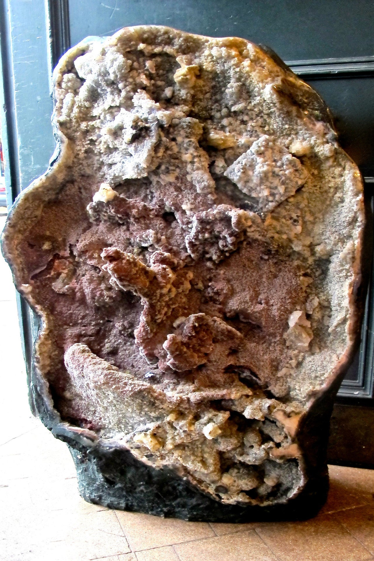 X Very large and rare Brazilian floor standing geode with unpolished formations of amethyst and quartz.