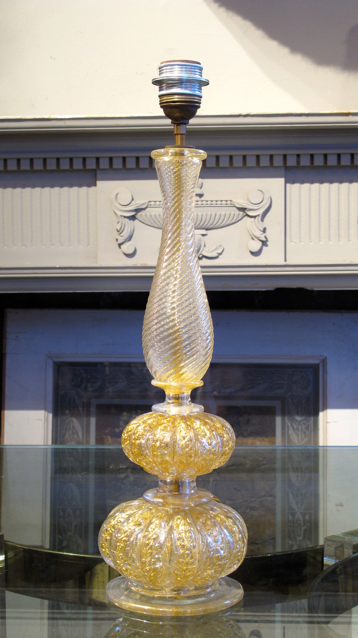 X Barovier Murano glass table lamp with gold leaf inclusions.