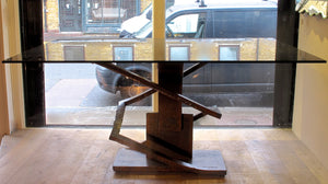 X Spectacular Brutalist steel table .