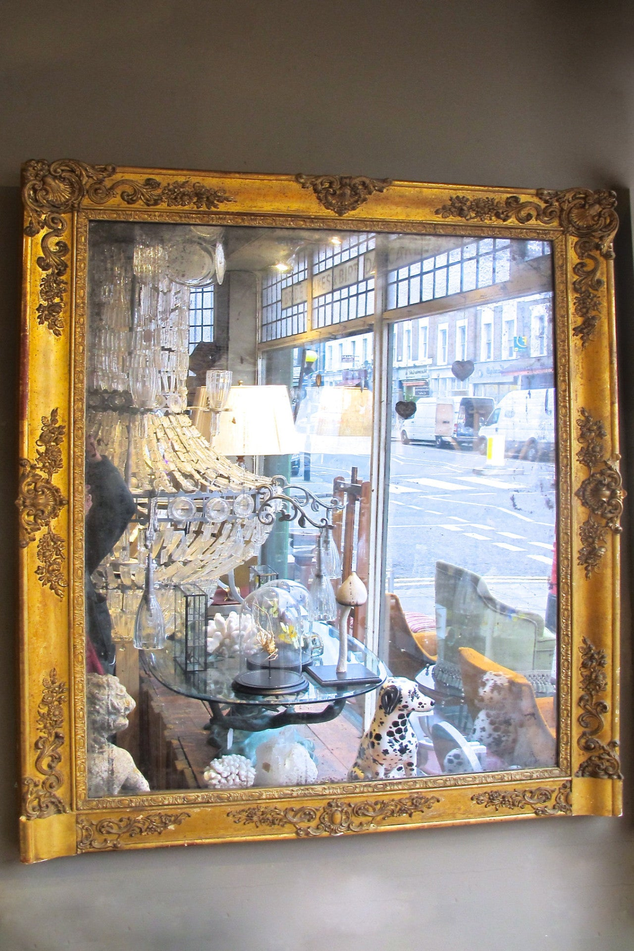 19th Century French Gilt Mirror with Original Mercury Glass