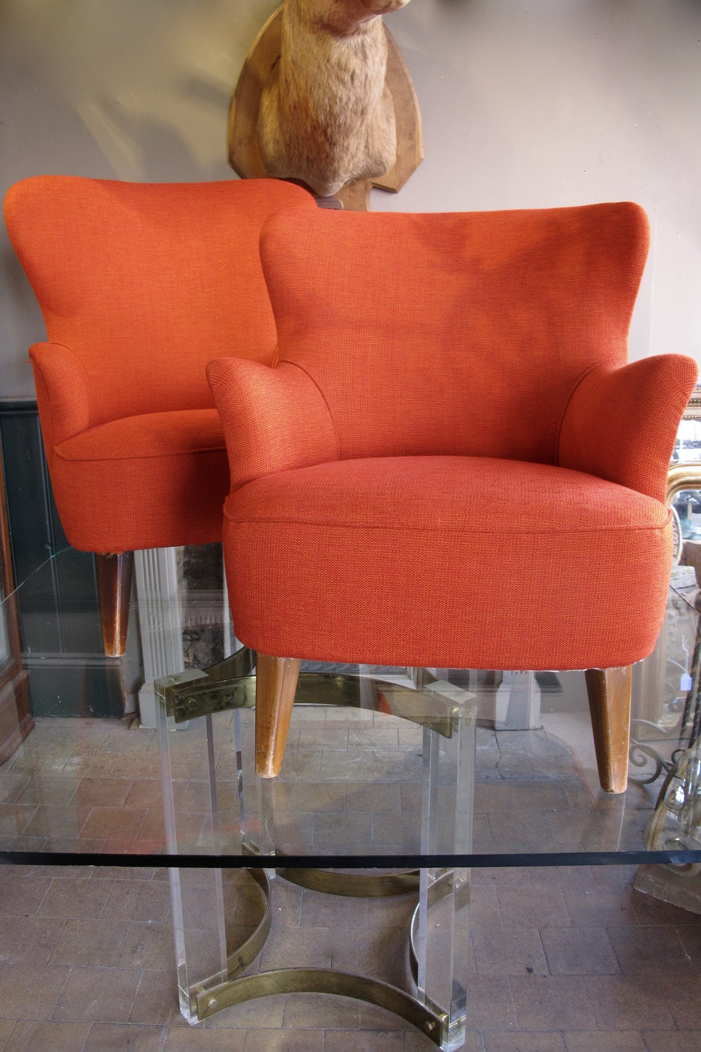 X Pair of Red Lounge Chairs