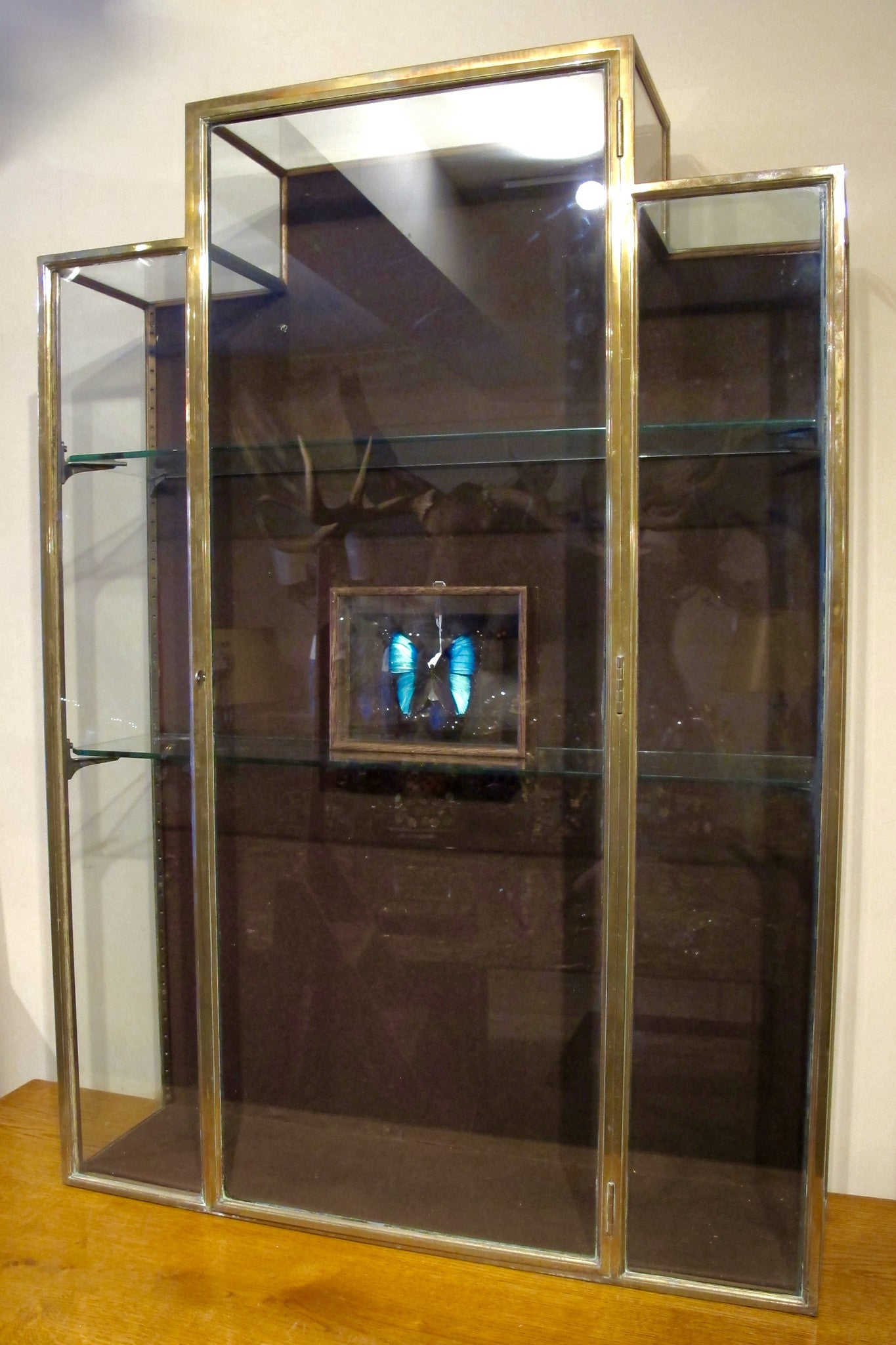 X Stepped brass display cabinet