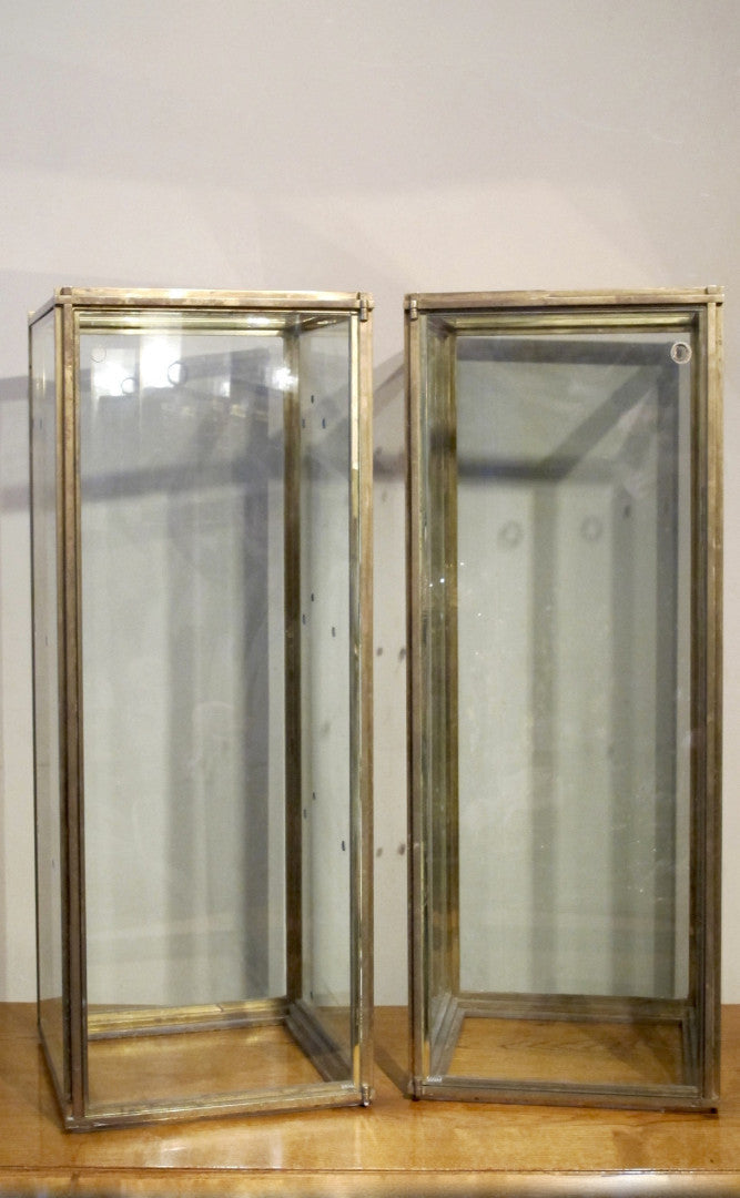 X Pair of brass display cabinets