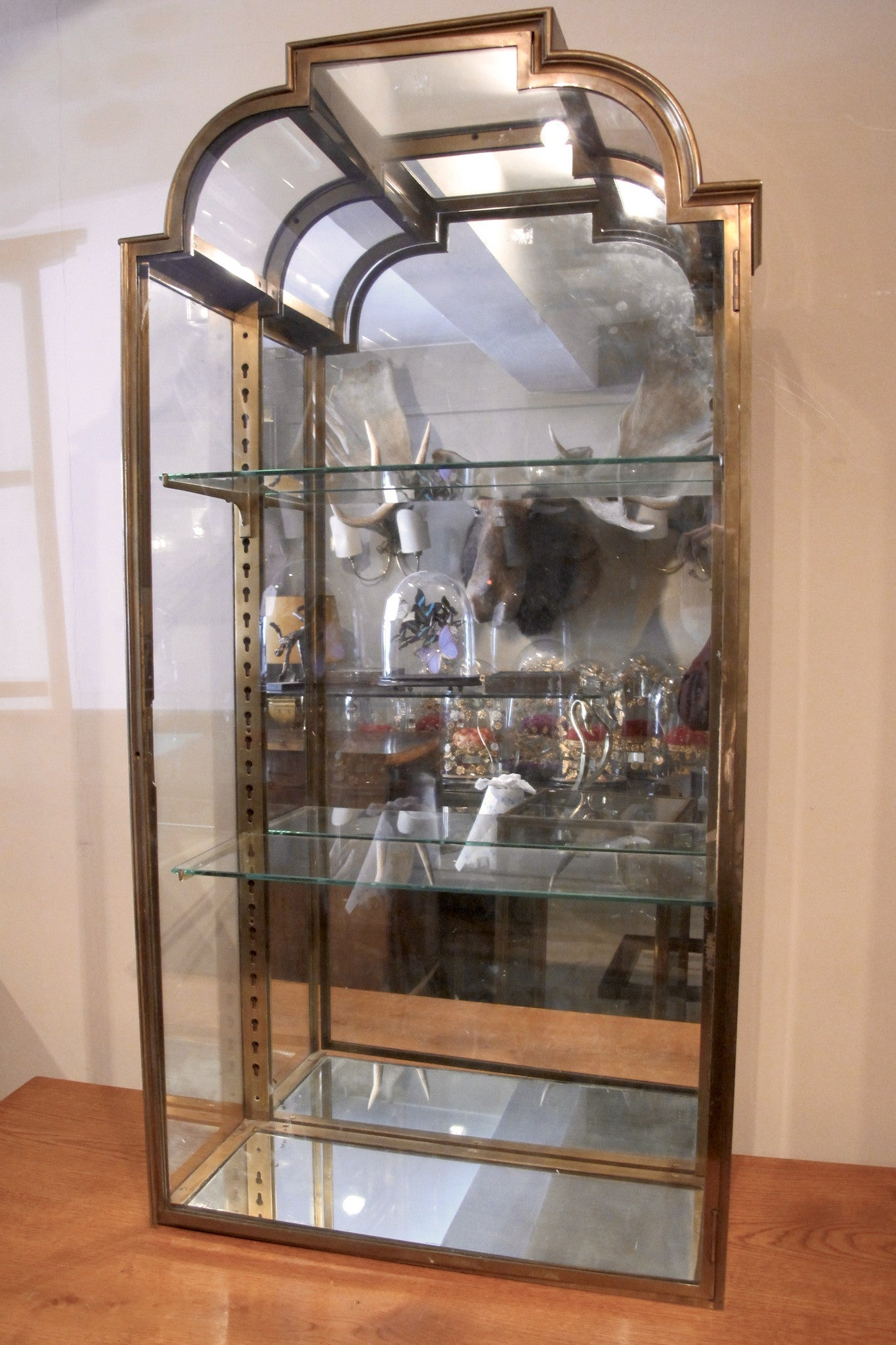 X Pair of Stunning brass 1920s Display cabinets ( curved glass detail)