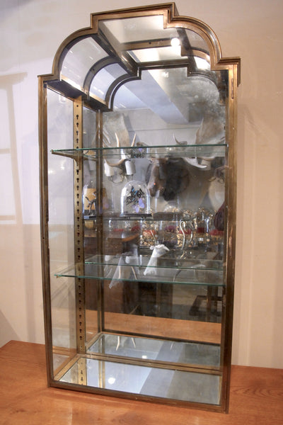 Pair of Stunning brass 1920s Display cabinets ( curved glass detail)
