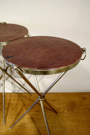 X Pair of decorative brass side  tables with leather tops.