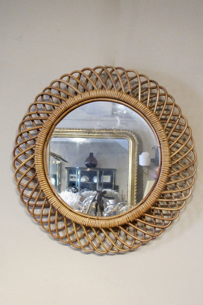 X Set of 5 1950s italian rattan Mirrors