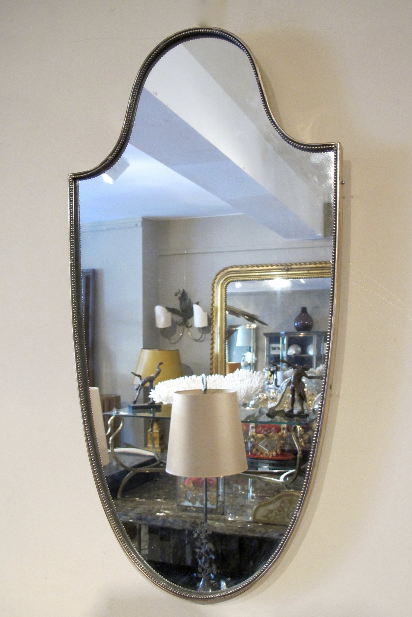 X 1950s Italian brass framed wall mirror
