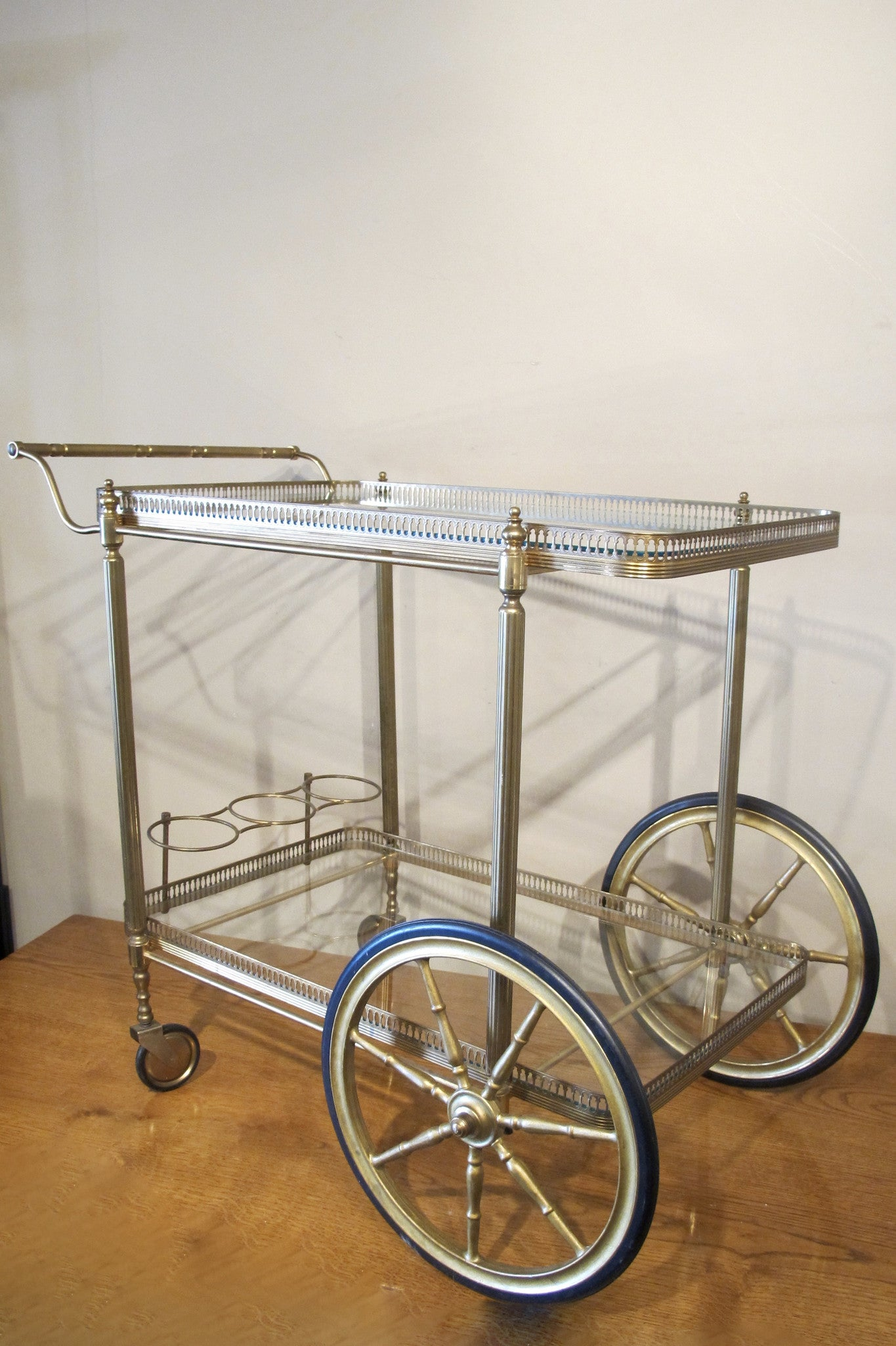 X Silver plated bar trolley.