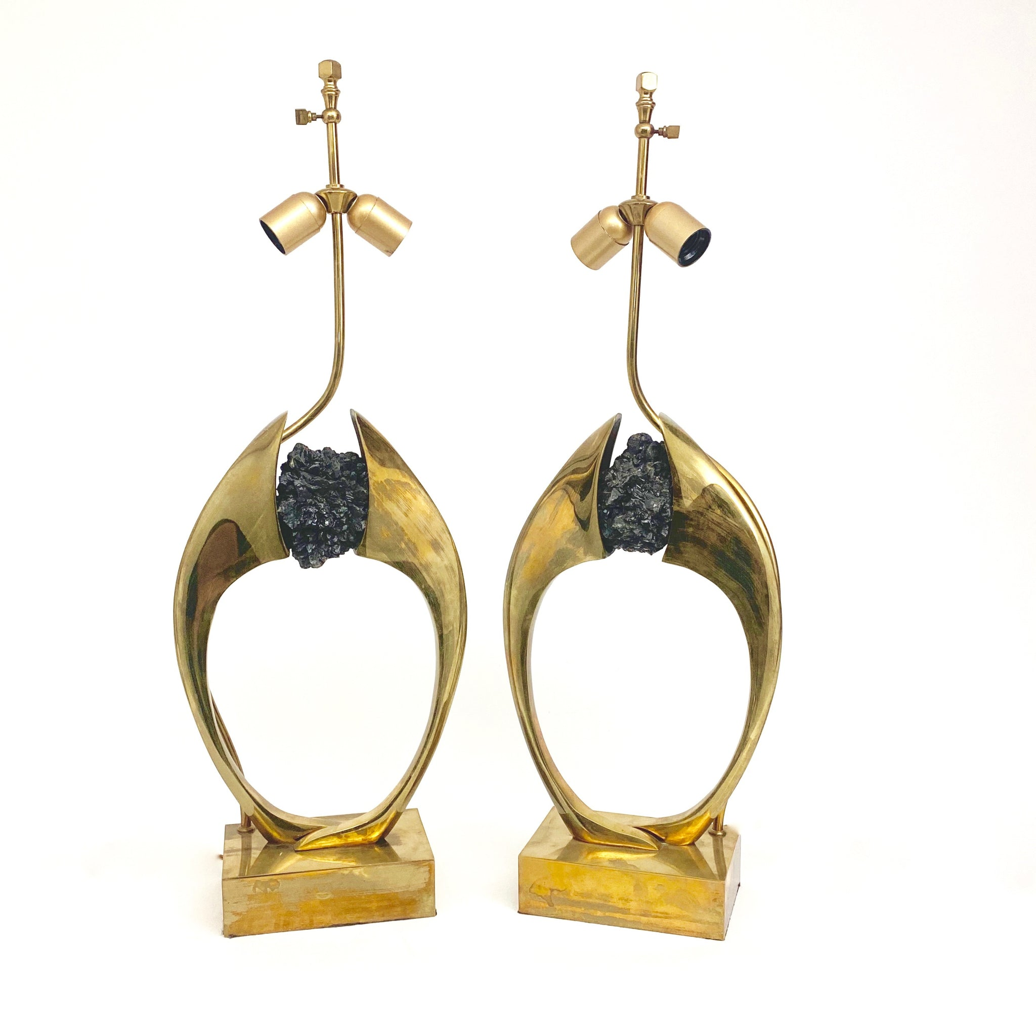 Fabulous of pair of sculptural bronze and black crystal  lamps by Willy Daro circa 1970.