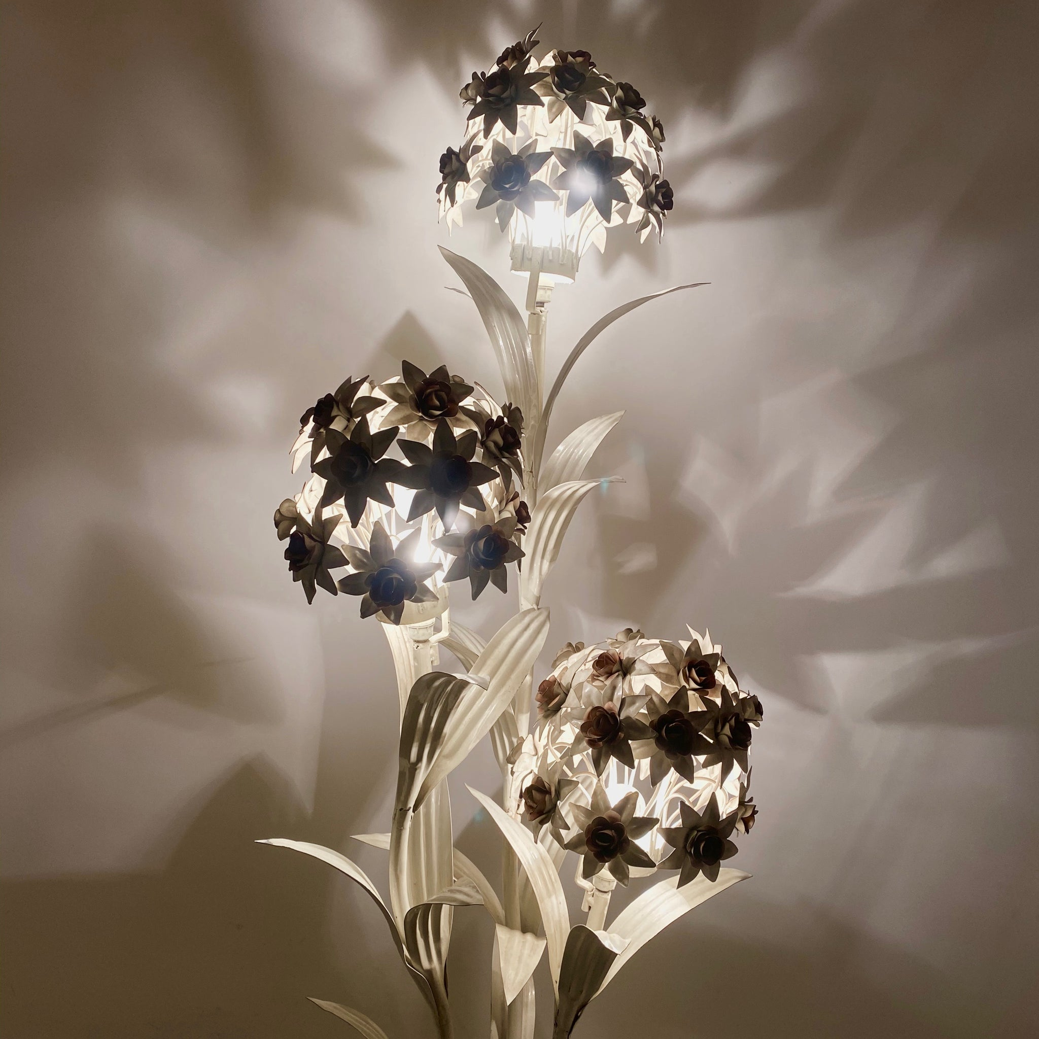 Striking white metal Hans Kohgl peony floor lamp .