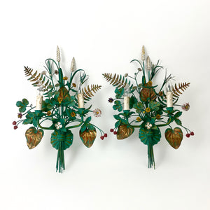 Large pair of decorative vintage french wall lights modeled as flowers.