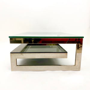 Large vintage chrome plated 2 tier coffee table with G profile .