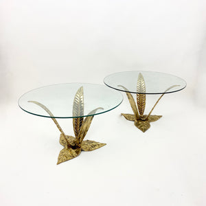 Pair of Italian bronze side tables modelled as flowers.