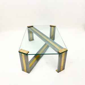 Vintage Italian brass and steel coffee table with glass top.