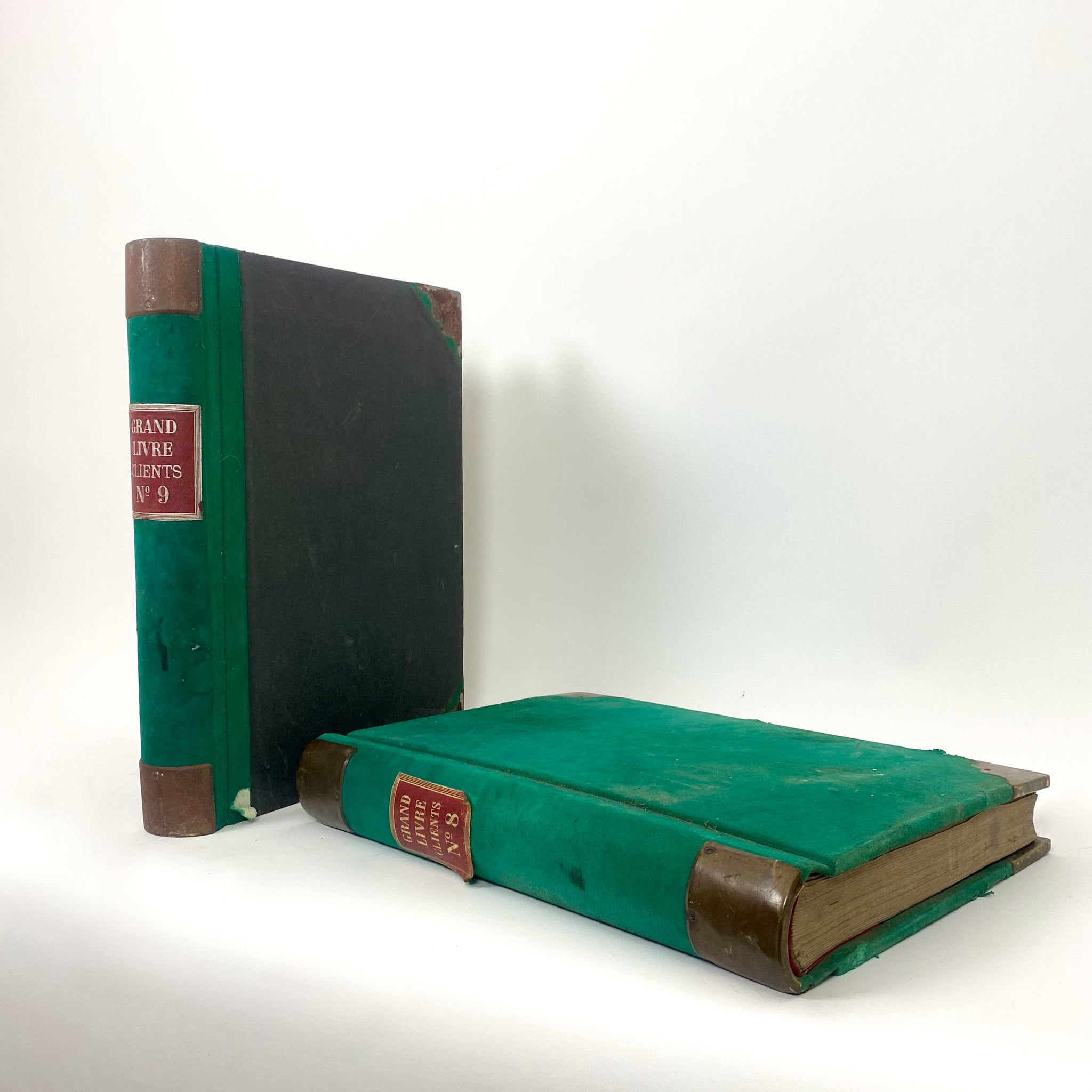 Decorative pair of late 19th century french  green vellum ledgers .