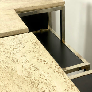 1970's black and gold bar with travertine marble top .
