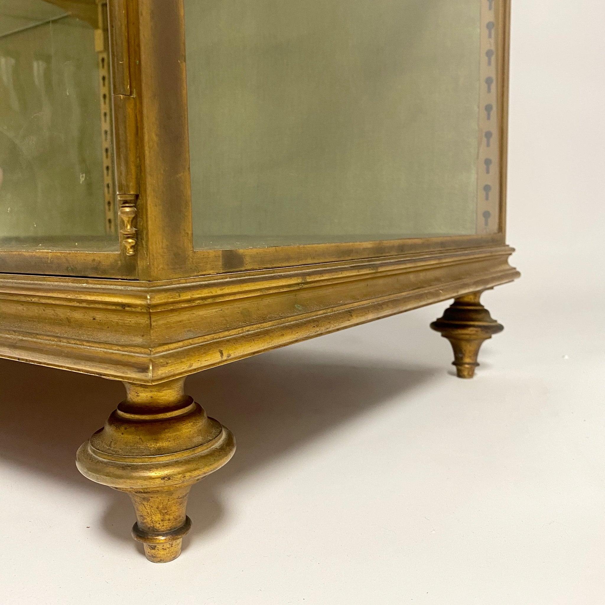 Fabulous French bronze vitrine with glazed hinge top circa 1900.
