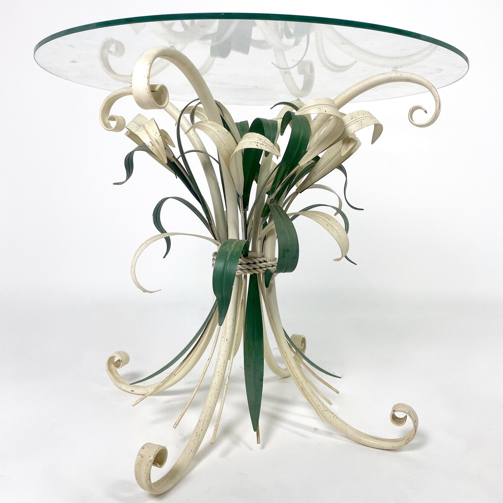 Decorative Italian tole side table with Lilly flower details .