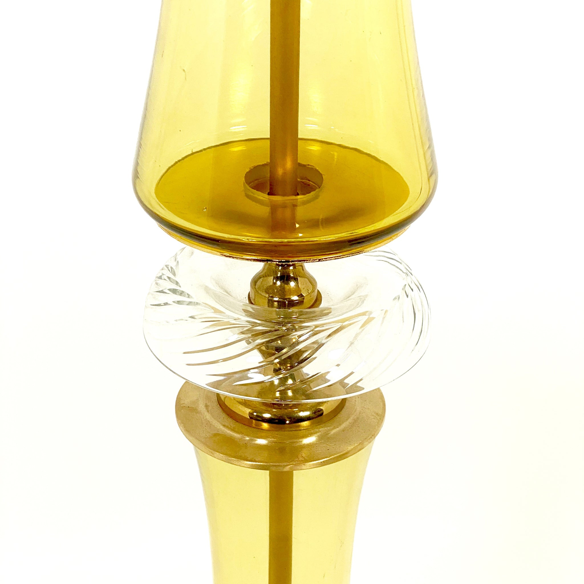 Decorative vintage brass and amber glass Murano  floor lamp .