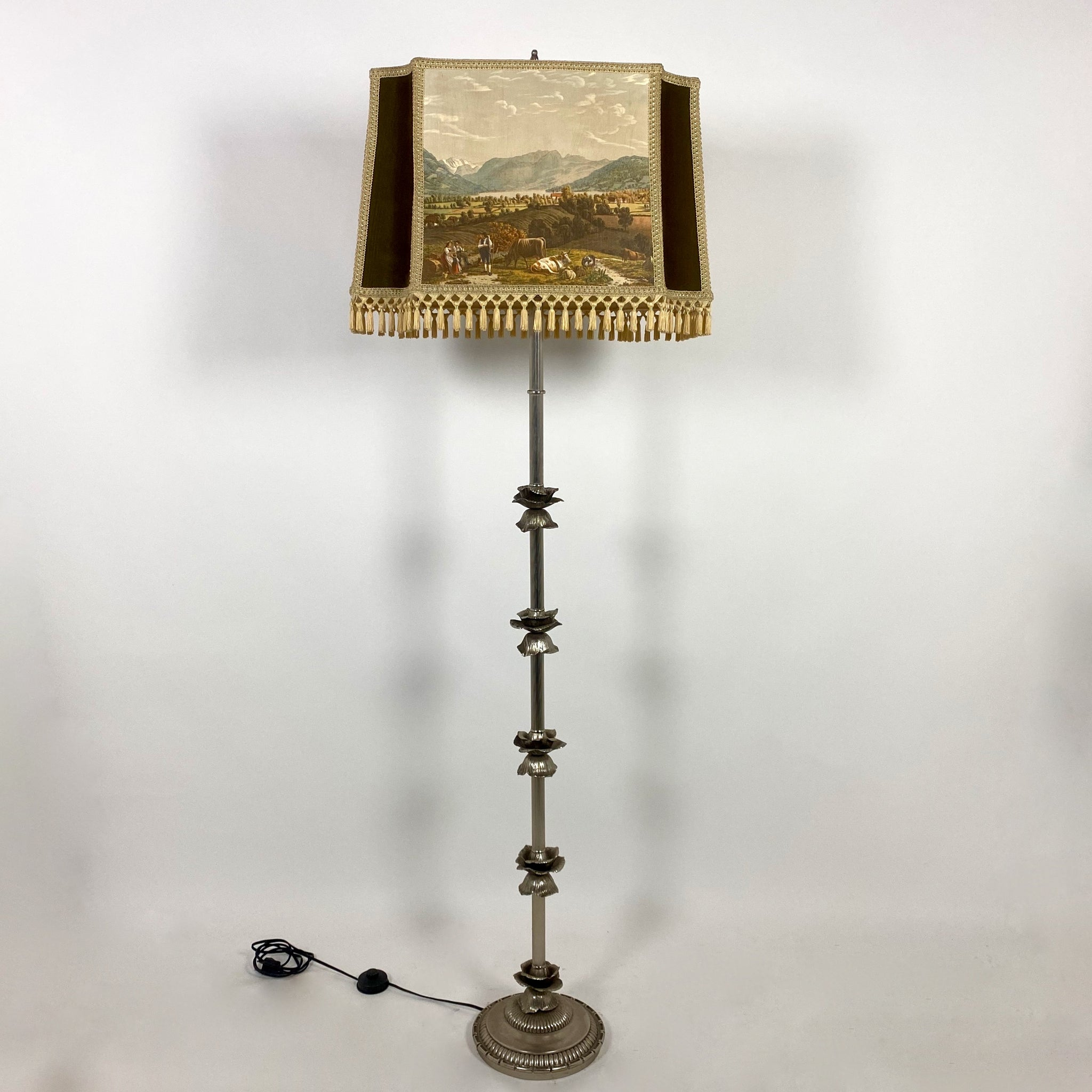 Italian mid century lamp with original decorative shade.