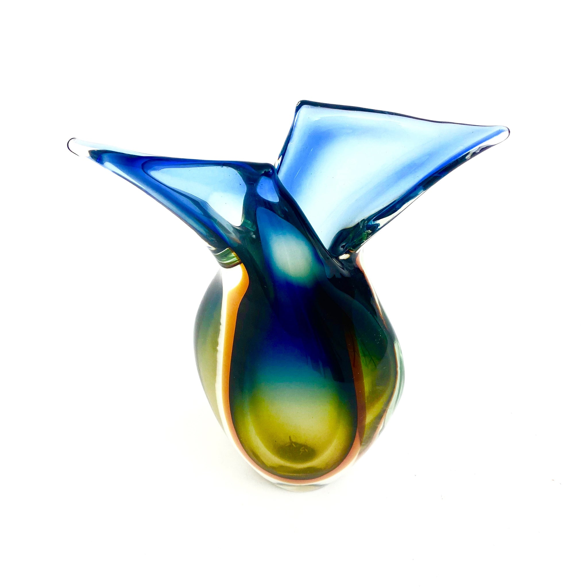 Large Murano sommerso glass vase after a design by Flavio Poli .