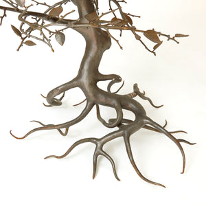 1970' s Italian wrought iron tree sculpture with Bronzed leaves .