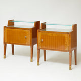 Charming pair 1950's of bedside cabinets with bronze feet .