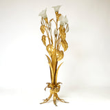 Rare 1970's silver gilt and gold Hans Kohgl lily floor lamp