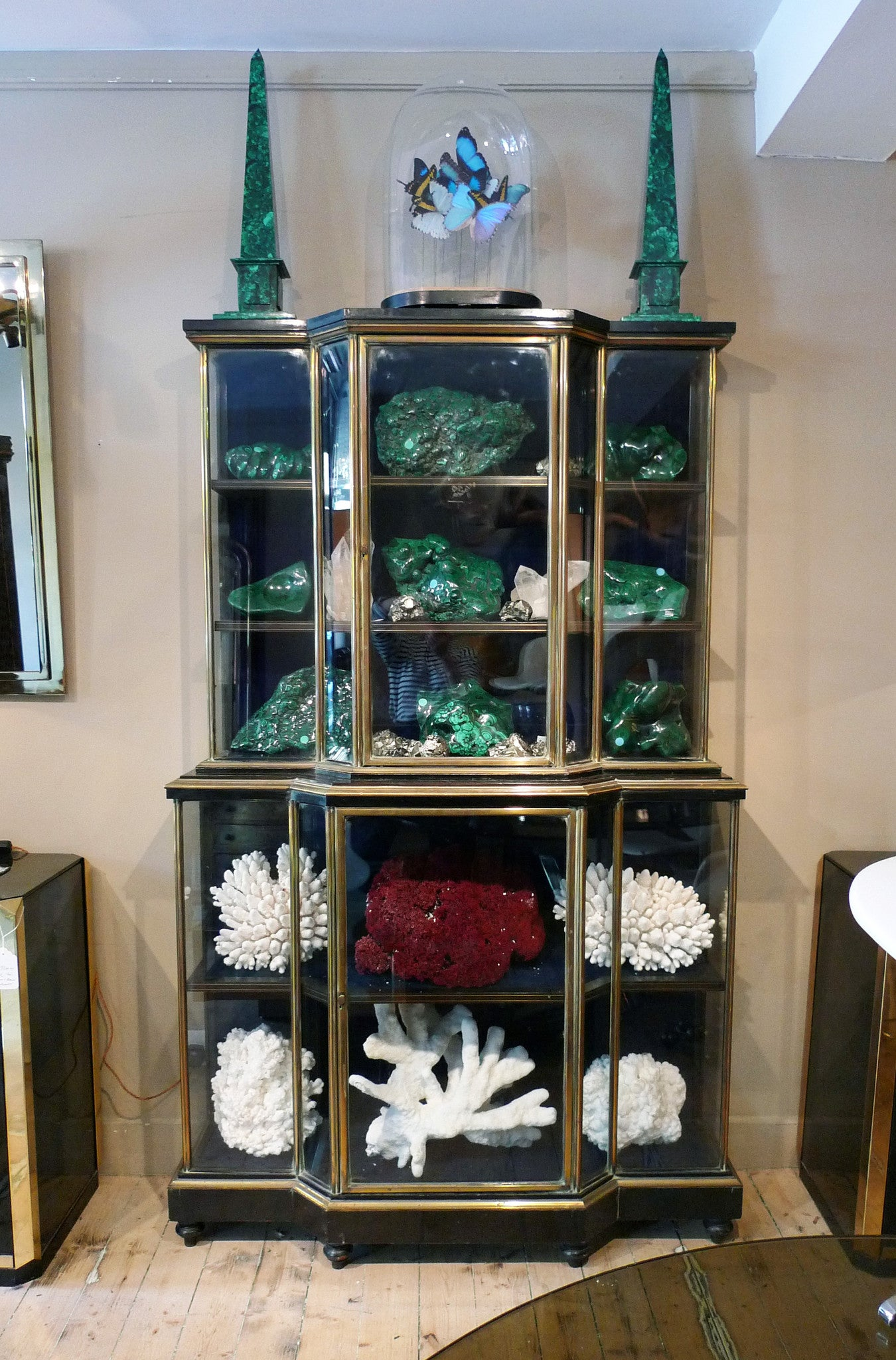 X Stunning Ebonised Brass and Rosewood Antique Breakfront Vitrine