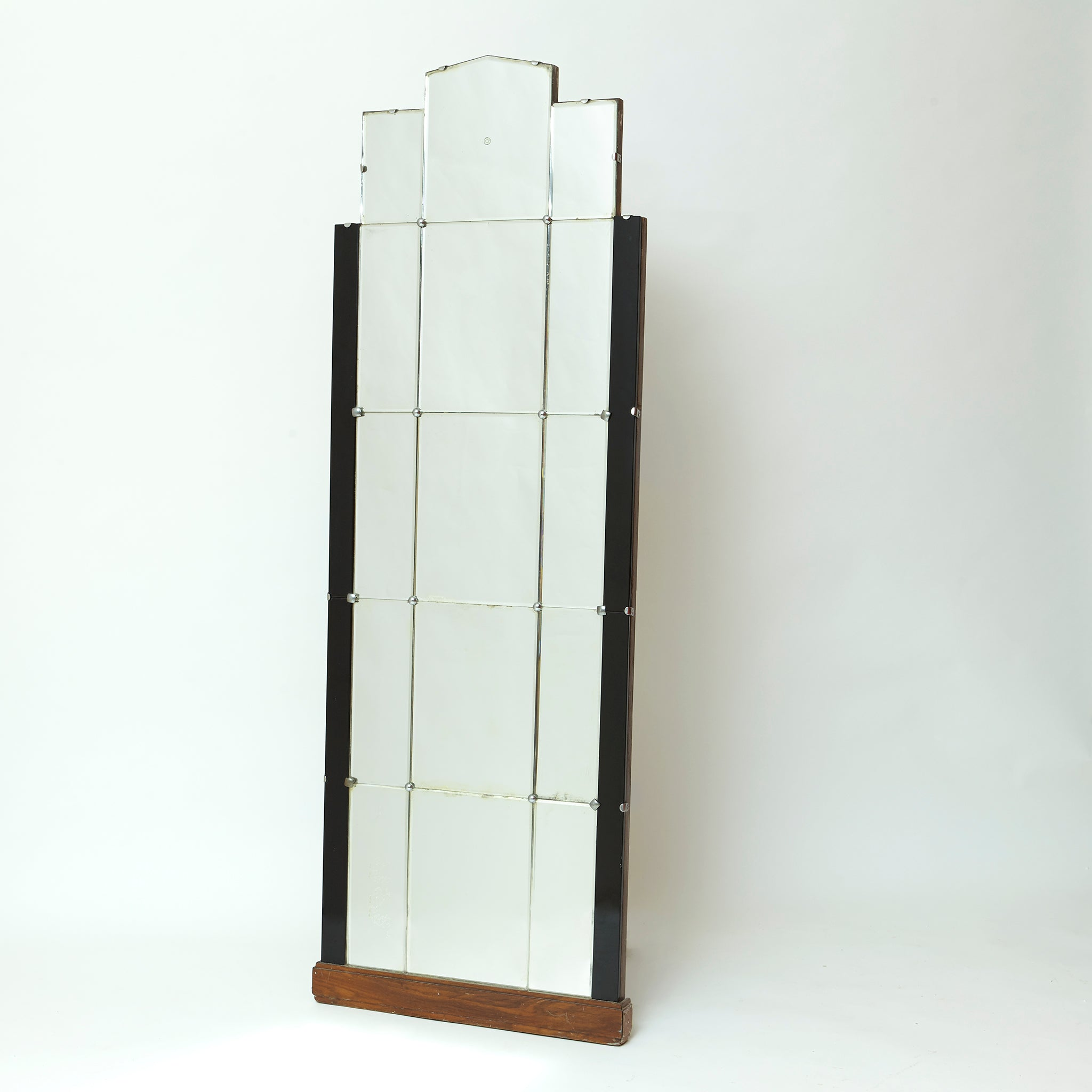 English art deco mirror with black glass edging circa 1920.