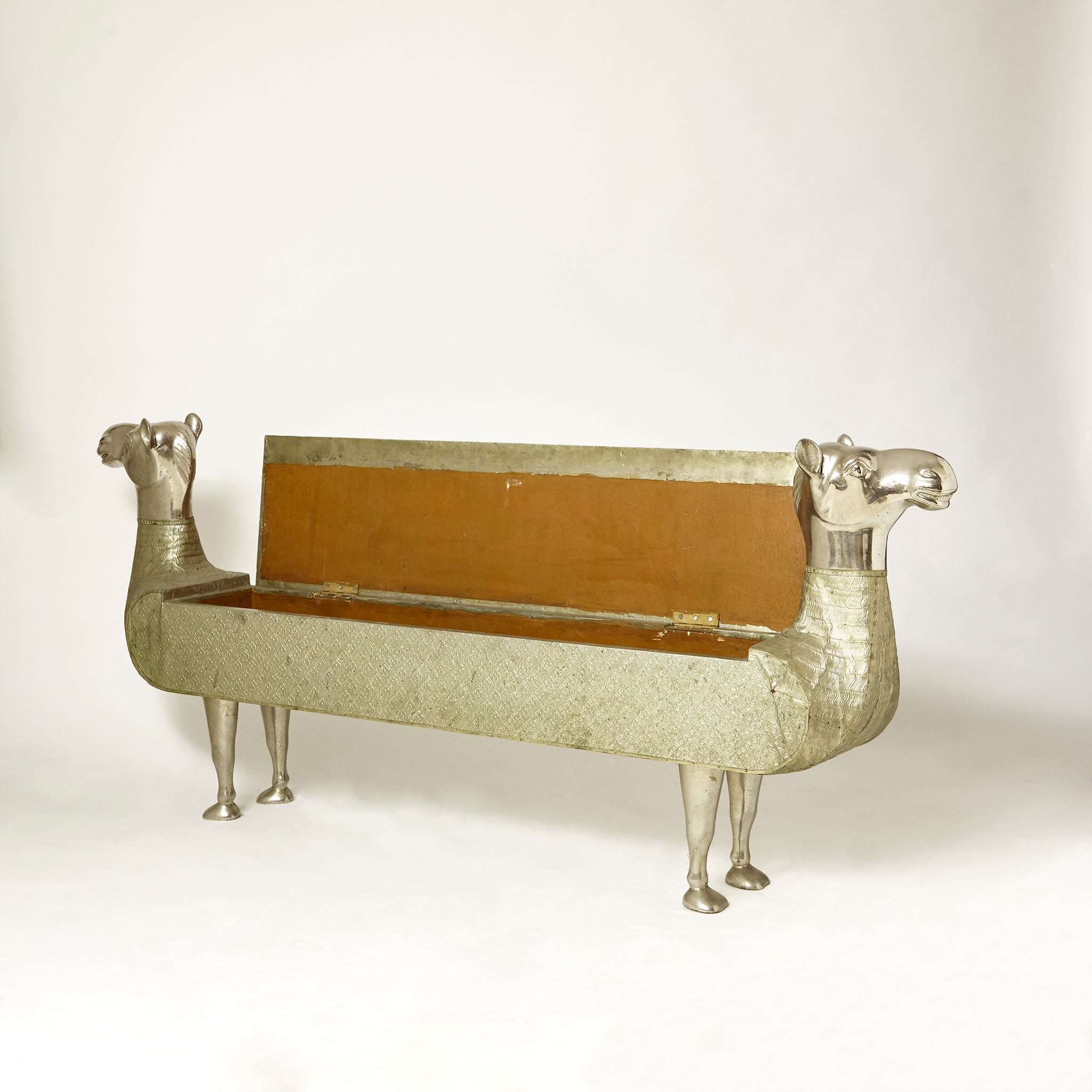 1970's  whimsical camel bench with internal storage.